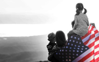 Paths to a green card - family with US flag