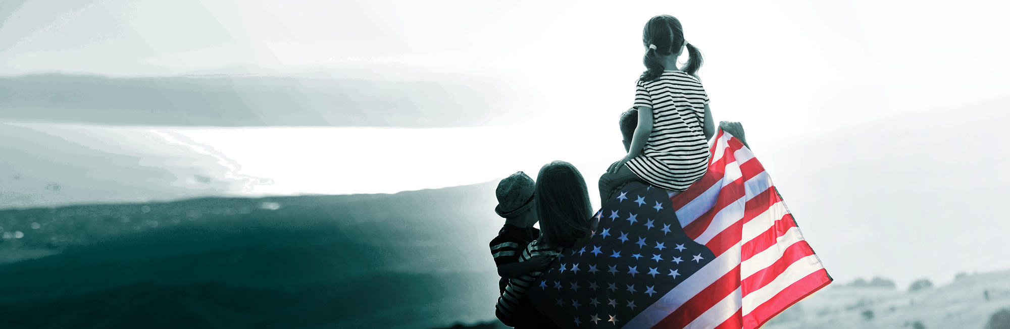 Paths to a green card - family with US flag vT