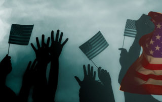 hands waving with US flags vT