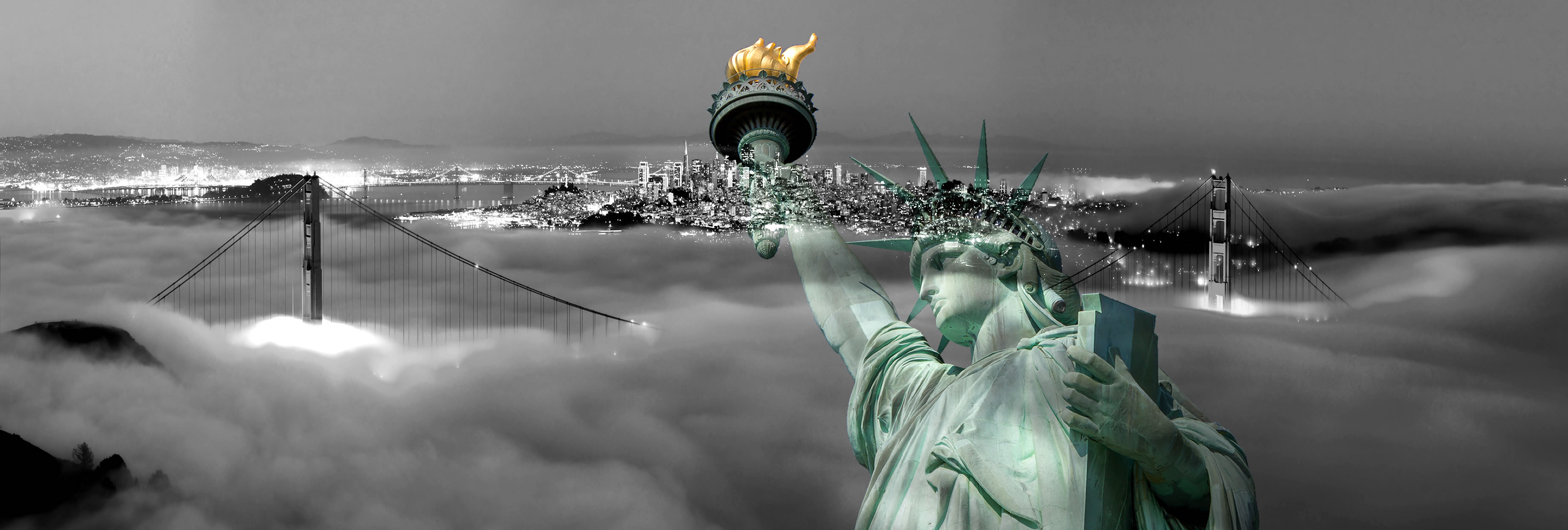 san francisco bw with statue of liberty color 2