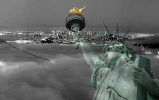 san francisco bw with statue of liberty color